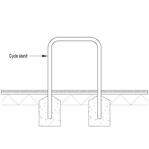 LOD 3 2D Section representation of Stainless steel cycle stands.