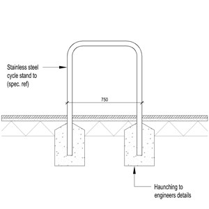 LOD 4 2D Section representation of Stainless steel cycle stands.