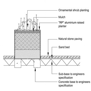 LOD 4 2D Section representation of Aluminium plant containers.