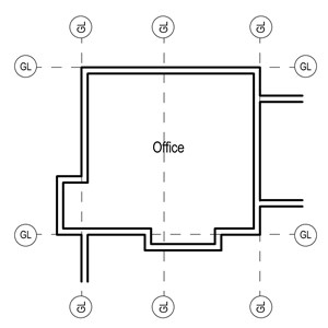 LOD 3 Plan representation of Raised access floor panels.