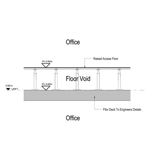 LOD 3 2D Section representation of Raised access floor panels.