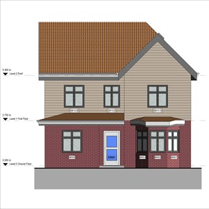 LOD 3 Elevation representation of Fibre-reinforced cement weatherboards.