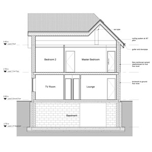 LOD 3 2D Section representation of Fibre-reinforced cement weatherboards.