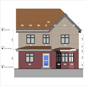 LOD 5 Elevation representation of Plastics weatherboards.