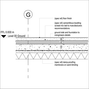 LOD 5 2D Detail representation of Cementitious levelling screed mixes.