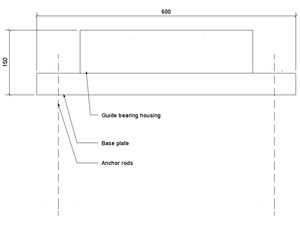 LOD 3 2D Section representation of Guide bearings.