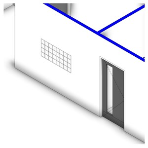 LOD 2 Model representation of Mortar jointed glass block wall panels.