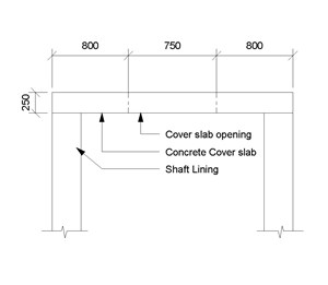 LOD 4 2D Section representation of Concrete shaft cover slabs.