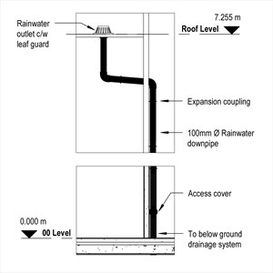 LOD 4 Elevation representation of External gravity rainwater drainage systems.