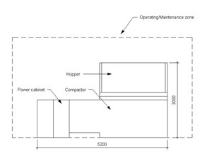 LOD 3 Elevation representation of Waste compactor systems.