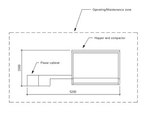 LOD 3 Plan representation of Waste compactor systems.