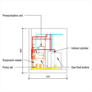 LOD 4 Elevation representation of Low temperature hot water heating systems.