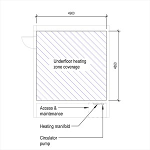 LOD 2 Plan representation of Underfloor low temperature hot water heating systems.