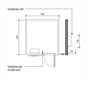 LOD 3 Plan representation of Catering cold room systems.