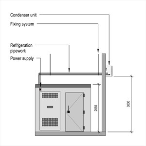 LOD 5 Elevation representation of Catering cold room systems.