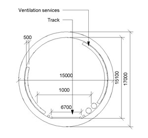 LOD 3 2D Section representation of Tunnel ventilation systems.