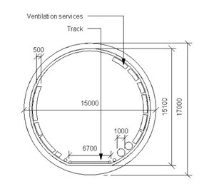 LOD 4 2D Section representation of Tunnel ventilation systems.