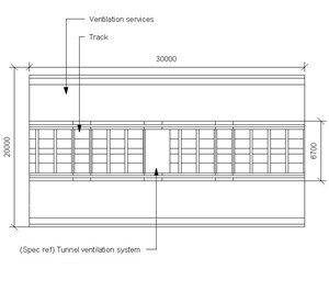 LOD 5 Plan representation of Tunnel ventilation systems.