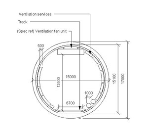 LOD 5 2D Section representation of Tunnel ventilation systems.