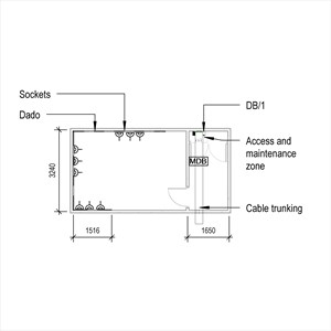 LOD 3 Plan representation of Low voltage small power systems with prefabricated wiring.