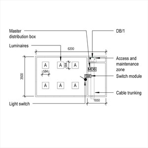 LOD 3 Plan representation of General lighting systems with prefabricated wiring.