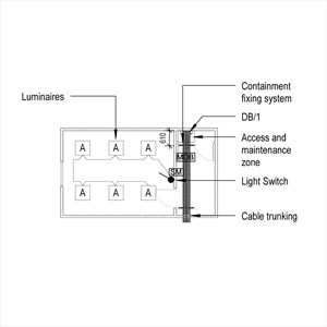 LOD 5 Plan representation of General lighting systems with prefabricated wiring.