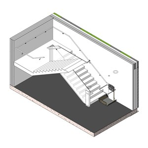 LOD 3 Model representation of Inclined stairlift systems.