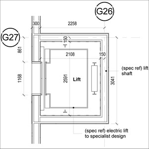 LOD 4 Plan representation of Electric lift systems.