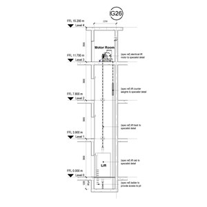 LOD 5 2D Section representation of Electric lift systems.