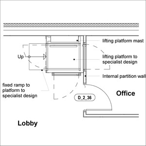 LOD 3 Plan representation of Vertical platform lift systems.