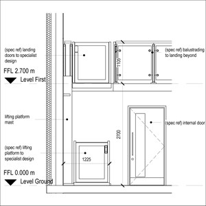 LOD 4 Elevation representation of Vertical platform lift systems.