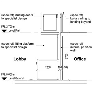 LOD 4 2D Section representation of Vertical platform lift systems.