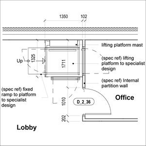LOD 5 Plan representation of Vertical platform lift systems.