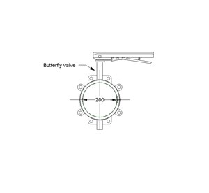 LOD 4 2D Section representation of Gas butterfly valves.