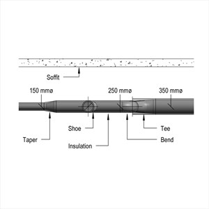 LOD 4 Elevation representation of Circular sheet metal ductwork and fittings.
