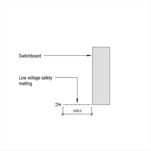 LOD 5 Elevation representation of Low voltage safety matting.
