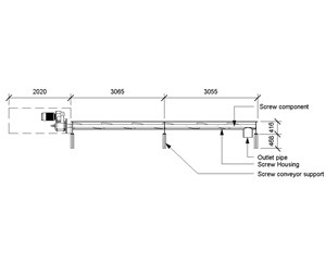 LOD 5 2D Section representation of Screw conveyors.